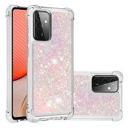 Dynamic Liquid Glitter Sand Quicksand TPU Case for Samsung Galaxy A72 (4G, 5G) - Silver Powder Star
