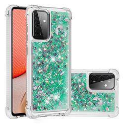 Dynamic Liquid Glitter Sand Quicksand TPU Case for Samsung Galaxy A72 (4G, 5G) - Green Love Heart