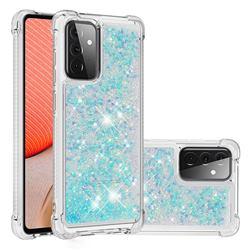 Dynamic Liquid Glitter Sand Quicksand TPU Case for Samsung Galaxy A72 (4G, 5G) - Silver Blue Star