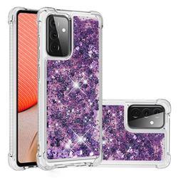 Dynamic Liquid Glitter Sand Quicksand Star TPU Case for Samsung Galaxy A72 (4G, 5G) - Purple