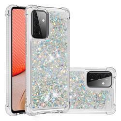 Dynamic Liquid Glitter Sand Quicksand Star TPU Case for Samsung Galaxy A72 (4G, 5G) - Silver