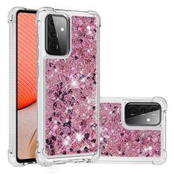 Dynamic Liquid Glitter Sand Quicksand Star TPU Case for Samsung Galaxy A72 (4G, 5G) - Diamond Rose