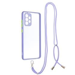 Necklace Cross-body Lanyard Strap Cord Phone Case Cover for Samsung Galaxy A72 (4G, 5G) - Purple