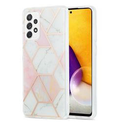 Pink White Marble Pattern Galvanized Electroplating Protective Case Cover for Samsung Galaxy A72 (4G, 5G)