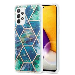 Blue Green Marble Pattern Galvanized Electroplating Protective Case Cover for Samsung Galaxy A72 (4G, 5G)