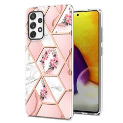 Pink Flower Marble Electroplating Protective Case Cover for Samsung Galaxy A72 (4G, 5G)