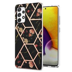 Black Rose Flower Marble Electroplating Protective Case Cover for Samsung Galaxy A72 (4G, 5G)