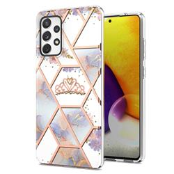 Crown Purple Flower Marble Electroplating Protective Case Cover for Samsung Galaxy A72 (4G, 5G)