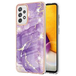 Fashion Purple Electroplated Gold Frame 2.0 Thickness Plating Marble IMD Soft Back Cover for Samsung Galaxy A72 (4G, 5G)