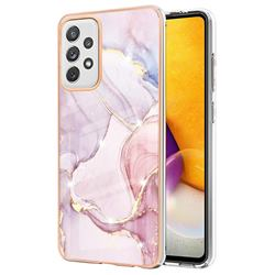 Rose Gold Dancing Electroplated Gold Frame 2.0 Thickness Plating Marble IMD Soft Back Cover for Samsung Galaxy A72 (4G, 5G)