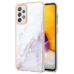 White Dreaming Electroplated Gold Frame 2.0 Thickness Plating Marble IMD Soft Back Cover for Samsung Galaxy A72 (4G, 5G)