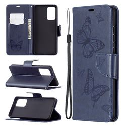 Embossing Double Butterfly Leather Wallet Case for Samsung Galaxy A72 5G - Dark Blue