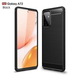 Luxury Carbon Fiber Brushed Wire Drawing Silicone TPU Back Cover for Samsung Galaxy A72 5G - Black