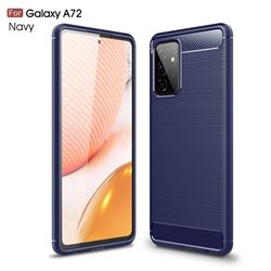 Luxury Carbon Fiber Brushed Wire Drawing Silicone TPU Back Cover for Samsung Galaxy A72 5G - Navy