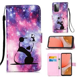 Panda Baby Matte Leather Wallet Phone Case for Samsung Galaxy A72 5G
