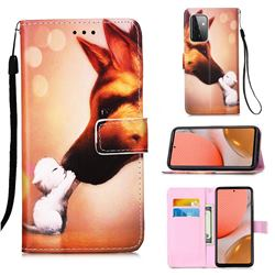 Hound Kiss Matte Leather Wallet Phone Case for Samsung Galaxy A72 5G