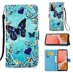 Love Butterfly Matte Leather Wallet Phone Case for Samsung Galaxy A72 5G