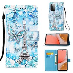 Tower Butterfly Matte Leather Wallet Phone Case for Samsung Galaxy A72 5G