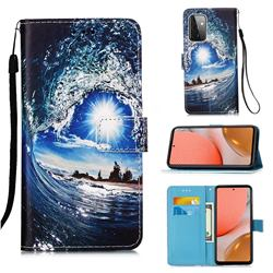 Waves and Sun Matte Leather Wallet Phone Case for Samsung Galaxy A72 5G