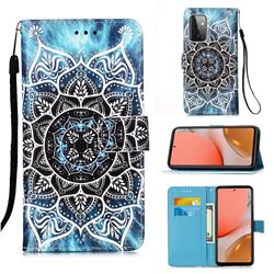 Underwater Mandala Matte Leather Wallet Phone Case for Samsung Galaxy A72 5G