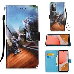 Mirror Cat Matte Leather Wallet Phone Case for Samsung Galaxy A72 5G