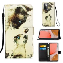 Cat Confrontation Matte Leather Wallet Phone Case for Samsung Galaxy A72 5G