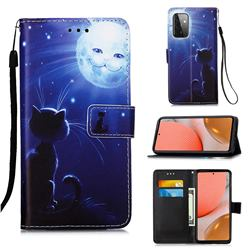 Cat and Moon Matte Leather Wallet Phone Case for Samsung Galaxy A72 5G