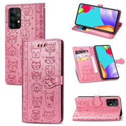 Embossing Dog Paw Kitten and Puppy Leather Wallet Case for Samsung Galaxy A72 5G - Pink