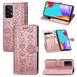 Embossing Dog Paw Kitten and Puppy Leather Wallet Case for Samsung Galaxy A72 5G - Rose Gold