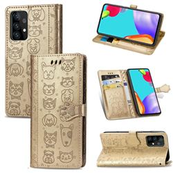 Embossing Dog Paw Kitten and Puppy Leather Wallet Case for Samsung Galaxy A72 5G - Champagne Gold