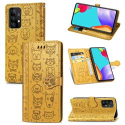 Embossing Dog Paw Kitten and Puppy Leather Wallet Case for Samsung Galaxy A72 5G - Yellow