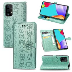 Embossing Dog Paw Kitten and Puppy Leather Wallet Case for Samsung Galaxy A72 5G - Green