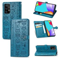 Embossing Dog Paw Kitten and Puppy Leather Wallet Case for Samsung Galaxy A72 5G - Blue