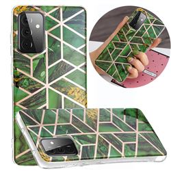 Green Rhombus Galvanized Rose Gold Marble Phone Back Cover for Samsung Galaxy A72 5G