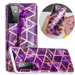 Purple Rhombus Galvanized Rose Gold Marble Phone Back Cover for Samsung Galaxy A72 5G