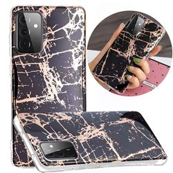 Black Galvanized Rose Gold Marble Phone Back Cover for Samsung Galaxy A72 5G