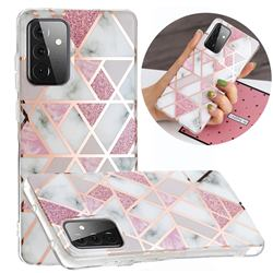 Pink Rhombus Galvanized Rose Gold Marble Phone Back Cover for Samsung Galaxy A72 5G