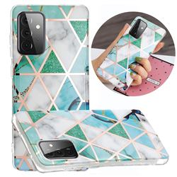 Green White Galvanized Rose Gold Marble Phone Back Cover for Samsung Galaxy A72 5G