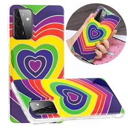 Rainbow Heart Painted Galvanized Electroplating Soft Phone Case Cover for Samsung Galaxy A72 5G