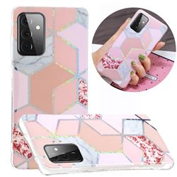 Pink Marble Painted Galvanized Electroplating Soft Phone Case Cover for Samsung Galaxy A72 5G