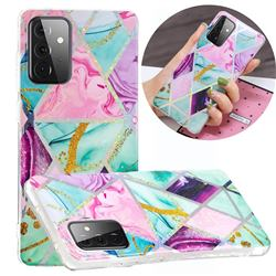 Triangular Marble Painted Galvanized Electroplating Soft Phone Case Cover for Samsung Galaxy A72 5G