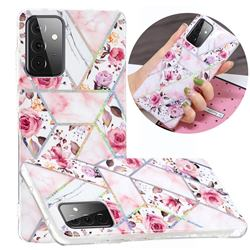 Rose Flower Painted Galvanized Electroplating Soft Phone Case Cover for Samsung Galaxy A72 5G