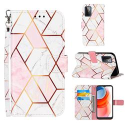 Pink White Stitching Color Marble Leather Wallet Case for Samsung Galaxy A72 5G