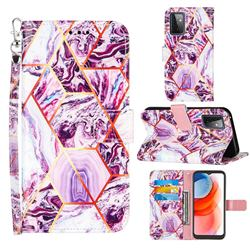Dream Purple Stitching Color Marble Leather Wallet Case for Samsung Galaxy A72 5G