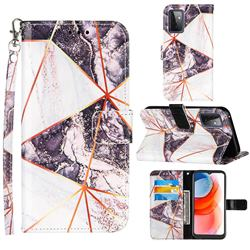 Black and White Stitching Color Marble Leather Wallet Case for Samsung Galaxy A72 5G