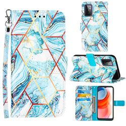 Lake Blue Stitching Color Marble Leather Wallet Case for Samsung Galaxy A72 5G
