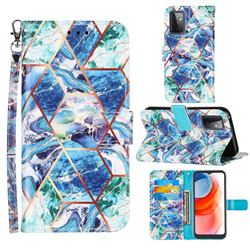 Green and Blue Stitching Color Marble Leather Wallet Case for Samsung Galaxy A72 5G