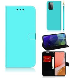 Shining Mirror Like Surface Leather Wallet Case for Samsung Galaxy A72 (4G, 5G) - Mint Green