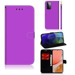 Shining Mirror Like Surface Leather Wallet Case for Samsung Galaxy A72 (4G, 5G) - Purple