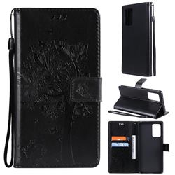 Embossing Butterfly Tree Leather Wallet Case for Samsung Galaxy A72 (4G, 5G) - Black
